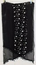 TERRIART Black, Soft Gold Embroidered Panel SILK BLEND 78x20 Long Scarf-Vintage