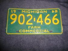 VINTAGE 1968 MICHIGAN  LICENSE PLATES  NUMBER 902-466 FARM PLATE  BARN FRESH