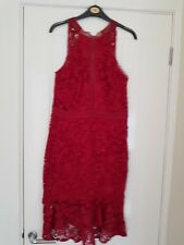 Lipsy fitted dress 12 lace berry / burgundy  hilo hem wedding races occasion