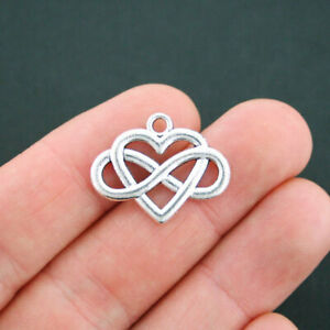 5 Infinity Heart Charms Antique Silver Tone 2 Sided - SC2437