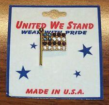 United We Stand Wear w/ Pride Rhinestone Jeweled American Flag Pin / Brooch *NEW