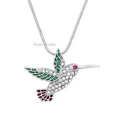 "Crystal Hummingbird Bird Pendant 17"" Necklace Nature Animal Womens Jewelry 1-2"
