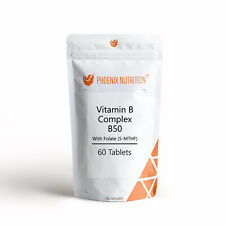 Vitamin B Complex B50 x 60 Tablets - High Strength One a Day Formula with Folate