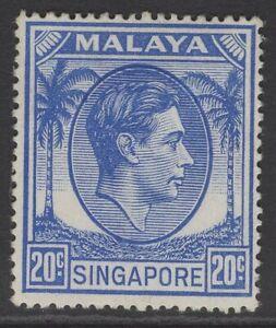 SINGAPORE SG24a 1952 20c BRIGHT BLUE p17½x18 MTD MINT