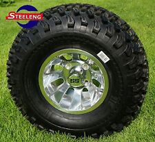 """GOLF CART 10"""" POLISHED SILVER BULLET WHEELS and 22"""" ALL TERRAIN TIRES(SET OF 4)"""