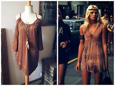 Feather Hippie Boho Festival Dress Faux Suede Leather Tassel Midi Brown Tan