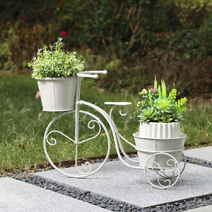 Glitzhome Metal White Bicycle Planter Stand Flower Pot Holder Display Home Decor
