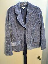 J. Jill purple blue Blazer jacket allover Embroidered Pattern S Small Velvet