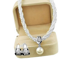 Luxury White Cream Pearls & Silver Jewellery Set Stud Earrings & Necklace S724