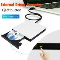 USB 3.0/2.0 External Driver Recorder 3D CD/DVD White Burner Writer Reader Player