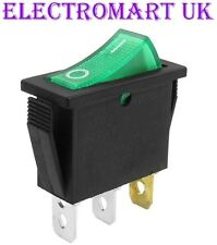 SPST ILLUMINATED NEON GREEN ROCKER SWITCH ON OFF 16 AMP 240 VOLT AC