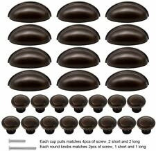 "27pcs Kitchen Cabinet 76mm Bin Knobs and 3"" Cup Pull Handles, Oil Rubbed Bronze"