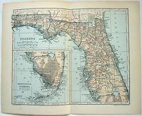 Florida - Original 1908 Map by Dodd Mead & Company. Antique