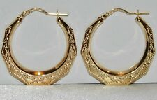 9CT GOLD DIAMOND CUT LARGE CREOLE HOOP EARRINGS