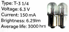 TWO (2) #47 6.3 VOLT BULBS for Drake R4 R4B R4C Receivers + T4X Transceiver