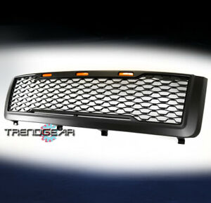 For 2011-2014 Chevy Silverado 2500 3500 HD Hood Upper Grille w/Amber Light Black
