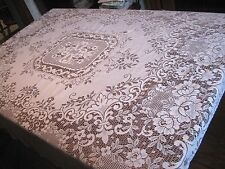 "Pretty Vintage BRIGHT WHITE EASY CARE WASHABLE Floral LACE Tablecloth -66"" x 58"""
