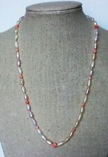 """17"""" Fresh-water Pearl-Pink Coral Necklace, Genuine Coral & FWP, #FWP-CO-N5"""