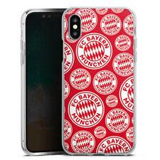 Apple iPhone X Silikon Hülle Case FC Bayern München Logos auf rotem Hintergrund