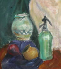 Still life vases cup bottle oil painting