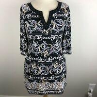 WHBM Women's Shift Dress Size XS Black Gray Tan 3/4 Sleeve V-Neck Beaded