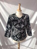 Coldwater Creek Women's Black & White Floral Geometric Blazer Jacket Lined Sz 8
