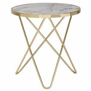WOHNLING Design Beistelltisch Marmor Optik Weiß Ø 55 cm Gold Couchtisch Rund