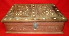 Vintage Antique Collectible Hand Craved Bone Designed Wooden Box With Book Stand