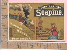 SOAPINE KINDALL MFG CO PROVIDENCE RI LOCOMOTIVE TRAIN ADV TRADE  CARD