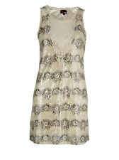 Yumi S Womens Cream Dymond Sequin Dress BNWT Lined Shift Brand New NWT 8 - 10