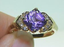 9CT DIAMOND  AMETHYST DIAMOND  CLUSTER RING 9 CARAT YELLOW GOLD SIZE Q