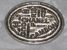 CHANEL PARIS CC LOGO SILVER  AUTH METAL  BUTTON TAG 16 x 12 MM emblem NEW