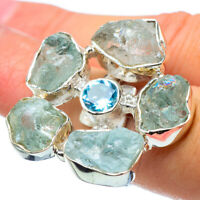 Large Aquamarine, Blue Topaz 925 Sterling Silver Ring Size 7 Jewelry R32639