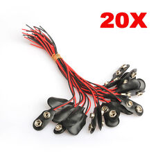 20Pcs Pack Snap on 9V Volt Battery Holder Clip Connector Hard Shell Cable Lead