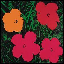 Warhol Flowers Pink póster son impresiones artísticas imagen en el marco de aluminio 60x60cm