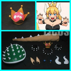 Super Princess Bowsette Womanize Crown Earrings Horns Headwear Tail Cosplay Prop
