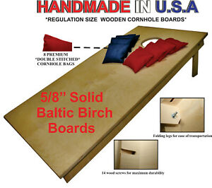 """UNFINISHED CORNHOLE BOARDS BEANBAG TOSS GAME SET w """"pick your colors"""" bags"""