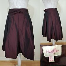 Whistles Dark Red Wine Pleated Winter Silky Skirt Size 8 Christmas Party