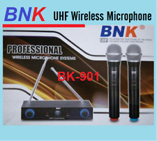 *NEW BNK PROFESSIONAL TWIN MIC WIRELESS MICROPHONE SYSTEM DUAL CHANNEL UHF