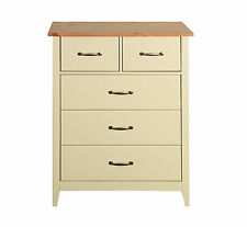 Balham Cream Painted 2 Over 3 Drawer Chest of Drawers with Oak Style Top