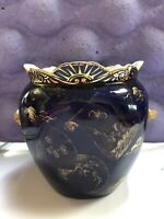Antique Ott & Brewer Trenton NJ USA Cobalt Gilt Chinoiserie Biscuit Pottery Jar