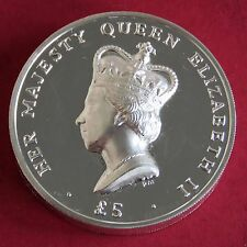 ASCENSION ISLAND 2012 QEII HIGH RELIEF .999 FINE SILVER PROOF PIEDFORT £5 CROWN