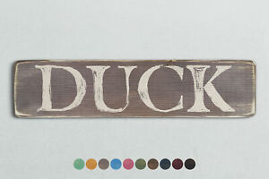 DUCK Vintage Style Wooden Sign. Shabby Chic Retro Home Gift