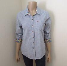 NWT Hollister Womens Striped Shirt Size Medium Top Blouse Floral Cuffs