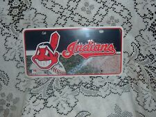 """CLEVELAND INDIANS CHIEF WAHOO METAL LICENSE PLATE  NEW  6"""" X 12"""" MLB"""