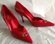 NWOB, Baby Phat heels, pointy toe, red leather, silver tone hardware, size 8M