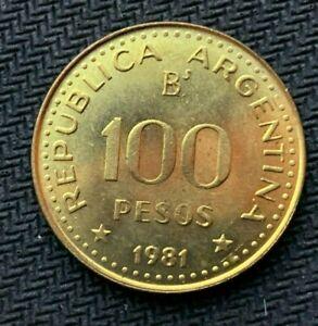 1981 Argentina 100 Pesos Coin GEM UNC     Highest Grade Coin     #C798