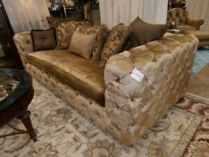 Marge Carson Designer Sofa, Shimmery Gold, Perfect Condition