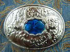 NUOVA Argento realizzato a mano in metallo blu fibbia della cintura Abalone Cowboy Western Goth