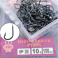 100Pcs Carbon Steel Assorted Fishing Bait Sharpened Hook Fishhook Jig Lures Set